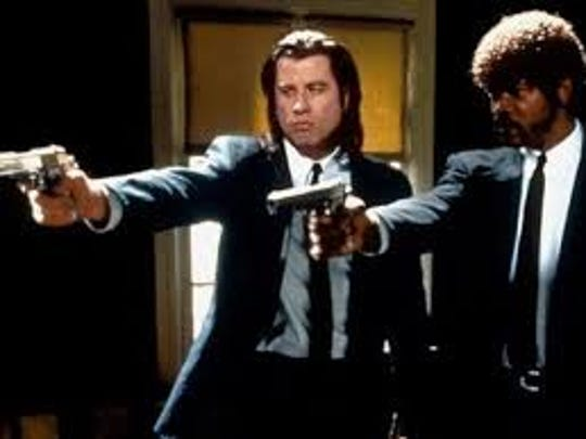 Vincent (John Travolta) and Jules (Samuel L. Jackson) in a scene from Pulp Fiction