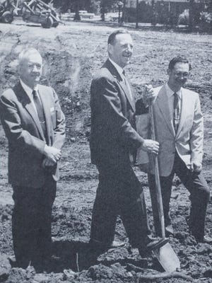 """A book about the history of Central Presbyterian Church in Anderson identifies this image as, """"Groundbreaking in 1956 for sanctuary. L-R: Guy Cromer, Church Building Committee; McLeod Frampton, Minister; Charlie Fant, Architect."""""""