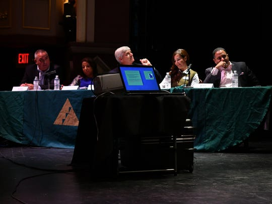 The panel of judges at the Junior Achievement of the