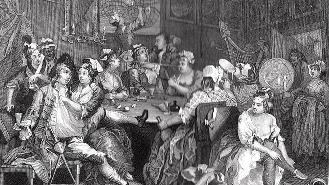 This image from William Hogarth's 'The Rake's Progress' shows some of the wilder side of 18th century taverns. New Bern had its share of such establishments.
