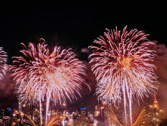 A large scale Fireworks by Grucci show at Pier 84 with