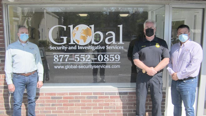 From left, Global Security and Investigative Services Security Director Robert Scaglione; Cornwall-on-Hudson PD Chief Steve Dixon and Global Security and Investigative Services Owner Dean Golemis. Golemis made a formal donation to cover the other half of the costs accrued for bullet-proof vests for the Cornwall-on-Hudson Police Department.