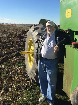 Keith Orebaugh, a fourth-generation corn farmer, poses at his farm about 15 miles south of downtown Muncie. Orebaugh, 76, owns 280 acres there, land his great-great-grandfather bought in 1832.