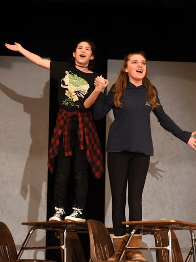 Grace LoGrasso, left, and Clair Aylor act in Hillside