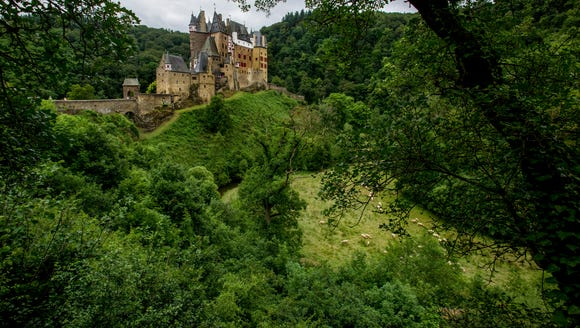 The first glimpse of Eltz Castle.