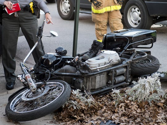Investigators work the scene of a reported motorcycle accident in Hanover Borough on Thursday, March 9, 2017. The accident occurred at Broadway and Szwoyer around 4:42 p.m.