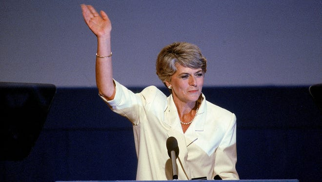 Geraldine Ferraro waves to the crowd at the 1984 Democratic Convention in San Francisco.