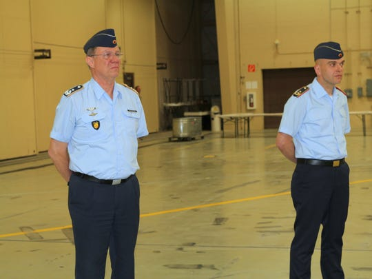 Commanding Director of the German Air Force Flying Training Center Col. Heinz-Josef Ferkinghoff  and and Maj. Gen. Gunter Katz stand during a speech at the transfer of responsibilities ceremony. Ferkinghoff got emotional during his send-off.