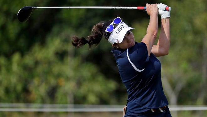 Gerina Piller of the United States hits on the 10th hole during the final round of the women's golf event Saturday at the 2016 Summer Olympics in Rio de Janeiro.
