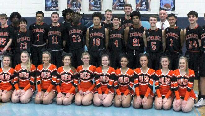 Kewanee's boys basketball team poses as East Division champs of the Three Rivers Conference on Friday at Manlius.