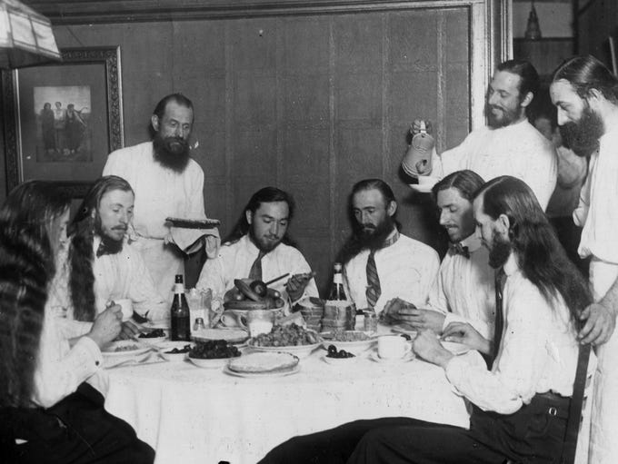 Some members of the Israelite House of David sit down