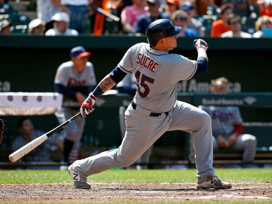 Tampa Bay Rays' Jesus Sucre watches his solo home run in the eighth inning of a baseball game against the Baltimore Orioles in Baltimore, Sunday, July 2, 2017. (AP Photo/Patrick Semansky)