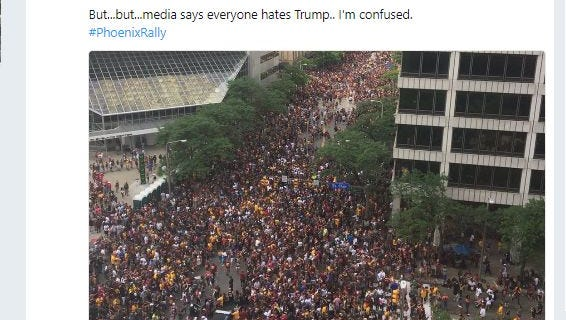 The Twitter account @TEN_GOP tweeted a photo of the crowd in Phoenix for the Trump rally, but the photo was actually taken in 2016 in Cleveland.