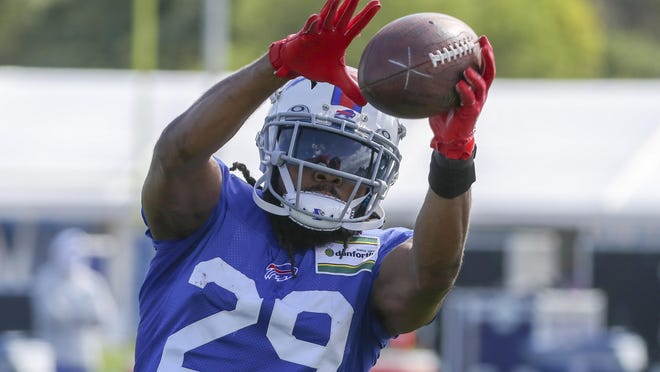 Buffalo Bills cornerback Josh Norman was hurt Thursday when he appeared to fall awkwardly. It is unclear how long he will be out.