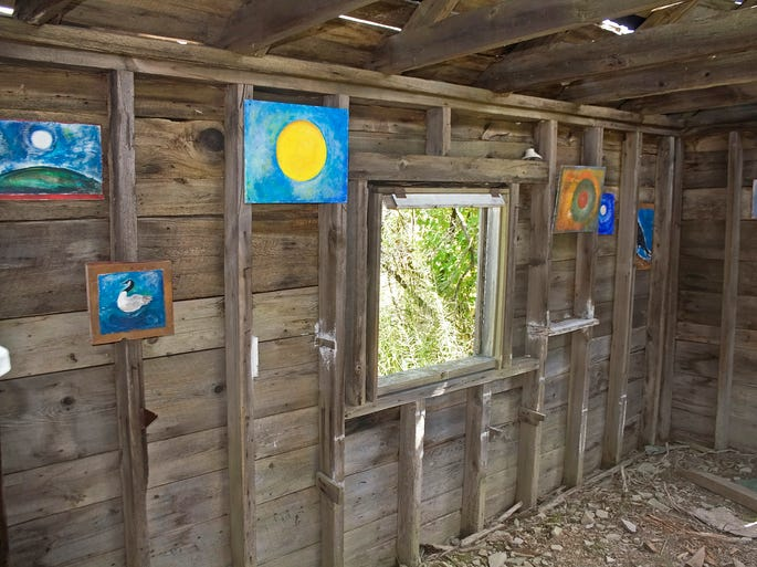 An old milk house that was located near Amelia Pond at Spencer Crest Nature Center in Corning had been the site of an informal gallery by an unknown artist who only recently stepped forward. A total of 16 paintings, almost all on wood, had been nailed or screwed to the walls  of the structure when this photo was taken in 2008. Subjects included birds, a dragonfly and about a dozen that featured the moon.