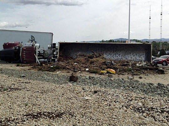The Nevada Highway Patrol released this photograph of a rollover on the Interstate 580 on ramp from Glendale Avenue.