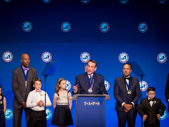 Coach Mike Krzyzewski speaks on behalf of the NBA and