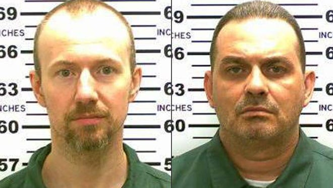 This combination made from photos released by the New York State Police shows escaped inmates David Sweat, left, and Richard Matt. Authorities on Saturday, June 6, 2015, said Sweat, 34, and Matt, 48, both convicted murderers, escaped from the Clinton Correctional Facility in Dannemora, N.Y. Police are focusing their search to Friendship, N.Y. after receiving a tip that two men who fit Sweat and Matt's description were seen walking near Friendship. (New York State Police via AP)