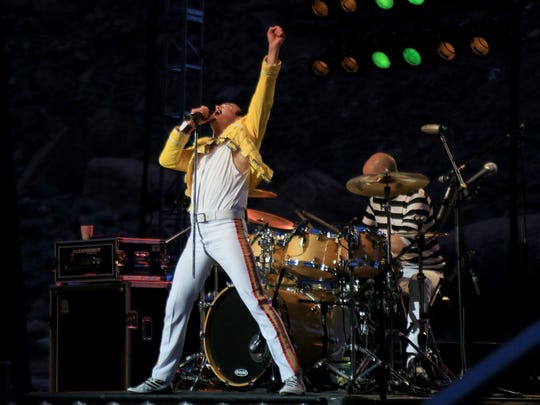 """Gary Mullen stalked the stage, often climbing on the drum riser, as he and The Works performed their """"One Night of Queen"""" show Friday at Tuacahn Amphitheatre in Ivins City."""