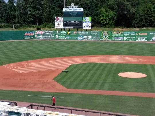 The waving flag in the infield before Wednesday's game