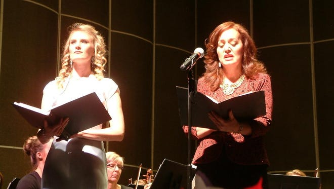 "Laura Ockey Snow and Allison Holly Hunt perform at ""Messiah"" program in St. George with the Southwest Symphony Orchestra (2013)."
