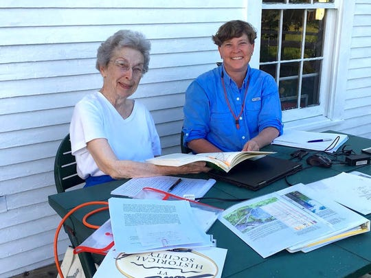 """Patricia Haslam, left, and Jill Baker, co-authors of """"The Greensboro Blockhouse Project An Historical and Archaeological Investigation in Greensboro, Vermont."""" Pat is Jill's aunt."""