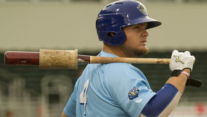 Daniel Vogelbach is being called to the big leagues with the Seattle Mariners. He's shown here, two years ago, playing for the Daytona Cubs against the Fort Myers Miracle at JetBlue Park.