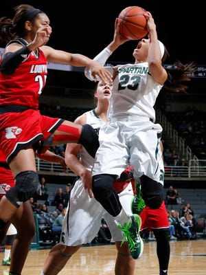 Michigan State's Aerial Powers, right, shoots against Louisville's Asia Durr Thursday, Dec. 3, 2015, in East Lansing, Mich. Michigan State fell 85-78.