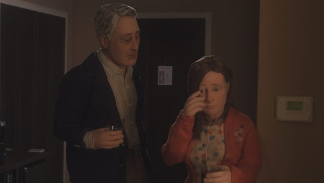 """(L-R) David Thewlis voices Michael Stone and Jennifer Jason Leigh is Lisa in the animated film """"Anomalisa."""""""