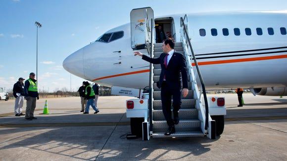 Marco Rubio arrives in Greer, S.C., on Feb. 10, 2016,