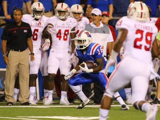 Louisiana Tech wide receiver Marcus Gaines (16) had four catches that went for first down against UL Lafayette on Saturday.