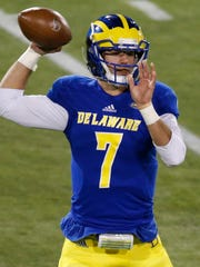 Delaware's Blake Rankin throws in the fourth quarter at Delaware Stadium Saturday.