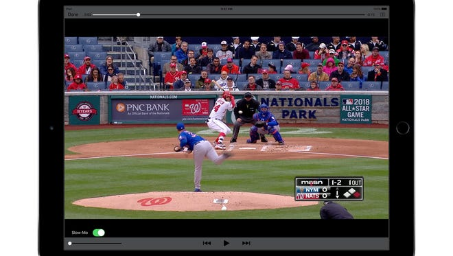 An iPad Pro showing Major League Baseball video from a game between the New York Mets and Washington Nationals.