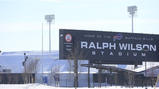 A snow covers around Ralph Wilson Stadium, home of the Buffalo Bills,  in Orchard Park, N.Y.  on Wednesday, Nov. 19, 2014.  A ferocious lake-effect storm left the Buffalo area buried under 6 feet of snow Wednesday, trapping people on highways and in homes, and another storm expected to drop 2 to 3 feet more was on its way.