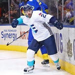 Red Wings forward Tomas Tatar of Team Europe celebrates his game winning goal in overtime against Team Sweden at the semifinal Sunday in Toronto.