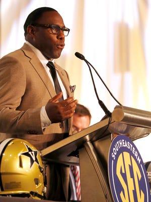Jul 11, 2016; Hoover, AL, USA; Vanderbilt head coach Derek Mason speaks to the media during SEC media day at Hyatt Regency Birmingham-The Wynfrey Hotel. Mandatory Credit: Butch Dill-USA TODAY Sports