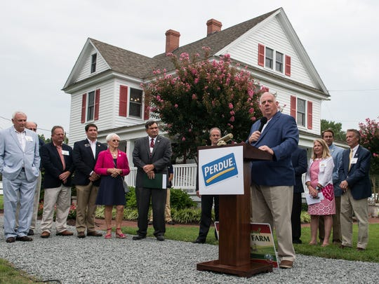 Maryland Governor Larry Hogan speaks to an audience during a ceremony commemorating the 100-year anniversary of the Perdue Family Farmhouse on Monday, Aug. 21, 2017.