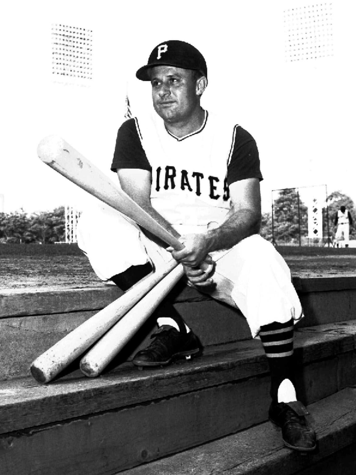 Smokey Burgess of the Pittsburgh Pirates relaxes on