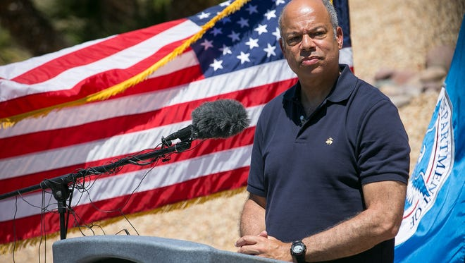 Secretary of Homeland Security Jeh Johnson visited the U.S. Customs and Border Protection facilities to talk to some of the unaccompanied children that crossed the border in Nogales on Wednesday, June 25, 2014.