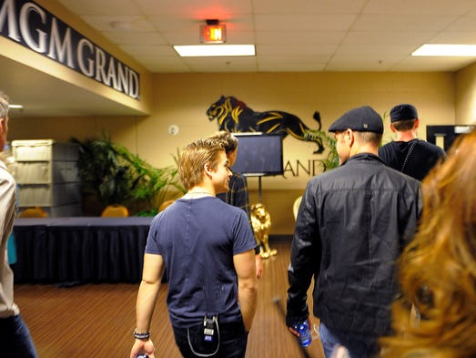 Hunter Hayes moves from the backstage area to the stage to rehearse for his performance at the 49th Annual Academy of Country Music Awards at the MGM Grand Garden Arena Thursday April 3, 2014, in Las Vegas, TN.