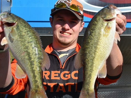 Oregon State's Ryan Sparks, shown here at an earlier tournament, and left, and Chase Cochran were in 14th place at the end of the first day at the three-day FLW College Fishing National Championships in South Carolina.