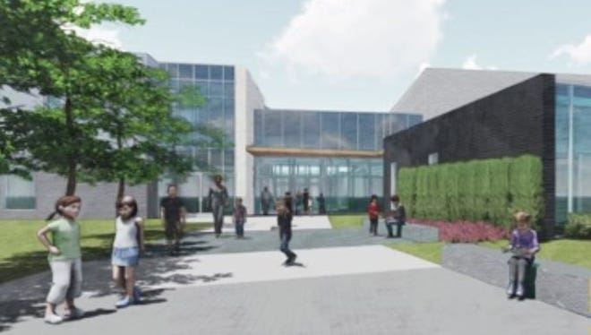 A rendering of the main entrance for the proposed elementary school in Germantown on Forest Hill-Irene south of the Norfolk-Southern Railway tracks