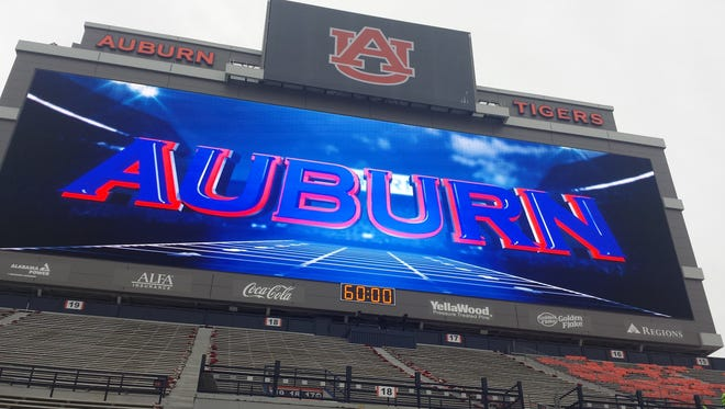Auburn will play its home opener this morning with its new video board in operation.