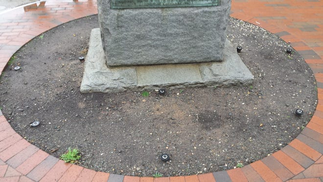 The city of Asheville hopes to reinstall some landscaping around this Robert E. Lee monument on Pack Square.