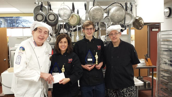 Pictured are Chef Fred Griesbach, from left, ProStart and FCCLA adviser Lynn Borski, student Michael Boyd and Chef Jon Hardin.