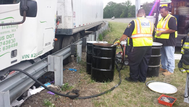 County and municipal Hazmat teams worked together to contain a fuel spill Saturday on Southbound Route 287, just north of Route 80 in Parsippany.