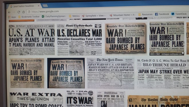 """Results of Google search for """"Pearl Harbor headlines"""""""