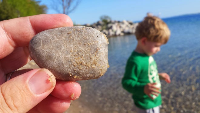 Eric Sitznagel grew up in Northport, hunting Petoskey stones. Now he's teaching that art to his son.
