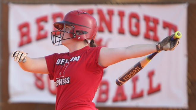 Shelby Coyne watches the trajectory of a softball during hitting practice at North Fort Myers High School Thursday.