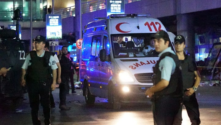 Turkish security officers and ambulances outside Turkey's